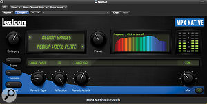 Like the Native PCM and LXP reverbs, MPX Native features an optional 'rainbow' frequency display.