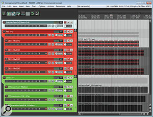 Here you can see Mike's referencing project as it looked towards the end of the mixing workshop. The red tracks are the four different bounce-outs from his mix project; the green tracks are the three commercial releases he used for comparison purposes; and the blue track is simply an A/B switcher to allow easy comparisons between the red and green track groups. Notice how the fader levels of the mastered commercial tracks have been reduced to avoid loudness bias.