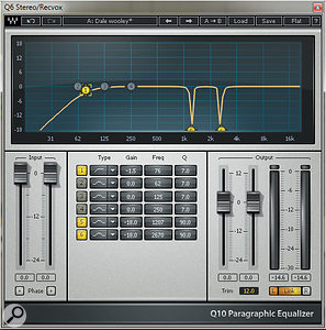 The vocal EQ used a  technique that involves removing very specific frequencies with a  narrow peaking EQ.