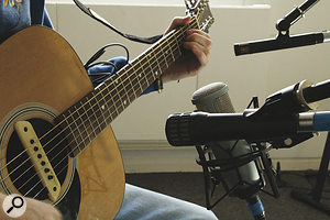 Here you can see the mic rig Flags used for recording the main guitar part. Although, in theory, multi‑miking techniques can help capture a more balanced picture of the instrument, in practice none of the mic positions used flattered the instrument at all, causing difficulties at mixdown.