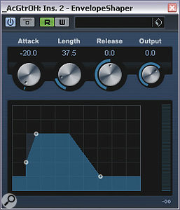 The high levels of pick/fret noise and sound-hole boom on the multi-miked acoustic guitar part required heavy-handed transient processing and multi-band compression to salvage a usable sound.