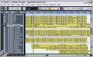 A considerable amount of timing correction was required to tighten up the song's groove — as you can see here in the drum parts during the song's outro section.