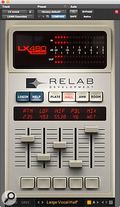A suitably dark‑sounding lead vocal reverb was derived from Relab's LX480 Essentials.