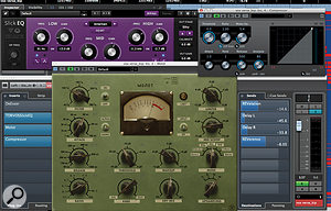 While the lead vocal part in much of the song worked with the backing vocals, I  wanted a  different, softer sound for the part in the intro, and this was achieved with the excellent freebie plug–ins Tokyo Dawn/Variety Of Sound Slick EQ and VladGs Molot compressor, along with automated use of the global reverb and delay effects. (The Cubase compressor you can see here was only used to add gain when refining the mix; it's not actually compressing.)