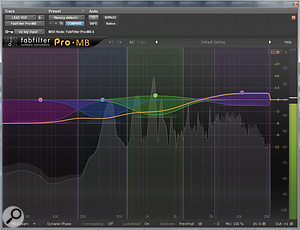 Fabfilter's Pro–MB, set up to act as a  dynamic EQ to brighten the lead vocals.