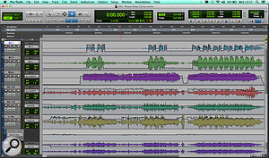 Small project, big trouble! As you can see from this screenshot, the final mix required detailed automation of every fader, not to mention the EQ plug-in on the vocal track.
