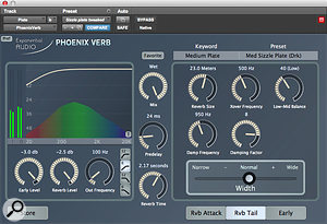 A plate reverb from Exponential Audio's Phoenix Verb presented a  very different and much more attractive alternative to the ambience of the room mics!