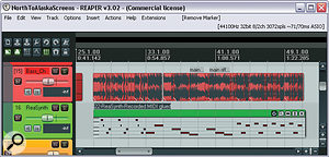Here you can see the two main tactics Mike used to improve the bass part: extensive timing edits to lock the part firmly with the drums; and asimple MIDI synth line layered underneath Ollie's bass guitar part to fill out the low end, using alow‑pass filtered patch from Reaper's internal ReaSynth plug‑in.