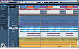 Here you can compare Dave's original arrangement in Cubase 4 (right) with Mike's remix arrangement in Reaper 3 (below). Notice the multing of the drums, vocals and guitars in the remix, as well as the new arrangement layers (all the green tracks).