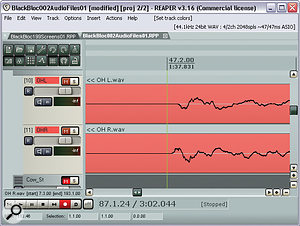 The upper screen here shows a zoomed‑in view of the left and right overheads files, as submitted for the remix. The drum hit you can see is a snare drum, and you can see that the polarity of one of the mics is clearly inverted: the waveform is an approximate mirror image. Also notice that the snare appears slightly later on one channel than the other, which skewed the stereo and affected the sound in mono. The lower screen shows how Mike matched the polarity and timing for a punchier and more mono‑compatible sound.