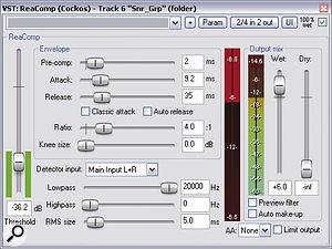 Fast compression from Cockos ReaComp was used to rebalance the snare‑drum sound in favour of its decay portion.