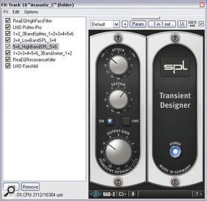 In this screenshot you can see the channel effects chain for the verse guitar part, including the DIY dual‑band transient‑processing setup between the Jesusonic 3BandSplitter & 3BandJoiner plug‑ins. On the right you can see the SPL Transient Designer settings for the upper frequency band.
