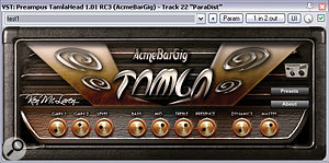 A variety of freeware distortion plug-ins were used to thicken a number of important sounds in this remix: AcmeBarGig's Tamla Head gave an acoustic guitar more mid-range attitude; Aradaz Amp Crunch added presence to the electric guitar parts; and Mokafix NoAmp helped the lead vocals to project better through the full arrangement.