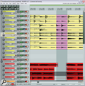 One of the techniques for making the important sounds more upfront was editing out competing sounds in the background to reduce frequency–masking effects. You can see one example of this technique in this screen shot where Mike has edited a gap into all the bass tracks (bottom, in red red) during the song's double snare–hit drum hook.