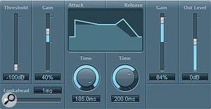 Getting the kick drum to compete with the bass demanded an unusual blend of processing: Enveloper to add front‑end smack, SubBass to get the subwoofer moving, and a bit of Distortion mixed in for extra attitude and sustain.