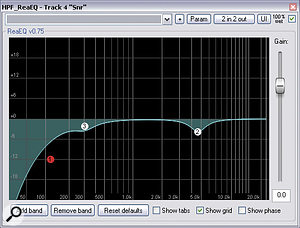 EQ cuts in the 3‑5kHz 'presence' region were used on a number of instruments to allow the lead vocals to come through the mix more clearly. For example, here you can see the EQ plots for the snare close mic (left), the main electric guitar subgroup (middle), and the solo guitar's delay return (right).