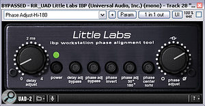 The guitars and lead vocals were both improved using phase rotation from Little Lab's new IBP Workstation plug‑in, running on the UAD2 platform. Here's the setting used for the guitars.