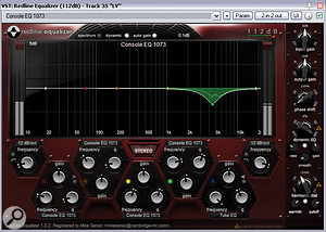 Unpredictable moments of tonal harshness in the lead-vocal tone were partially softened using the adynamic peaking band from 112dB's Redline EQ, but the final remedy came from two ReaEQ cuts targeting offending syllables, under the control ofMike's automationdata.