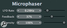 Modulation effects were used to widen the bass and vocal images in the mix: the Microphaser and Spreader plug‑ins.