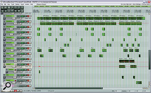 This screenshot shows how all the added textural samples were laid out across the song, and how level fades and automation were employed to keep this aspect of the arrangement in motion.