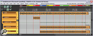 These two screenshots show some of the arrangment enhancements Mike made during the remix process. The acoustic guitars, for example, were expanded with edited-together double-tracks, the level and panning of which were adjusted to suit each song section. A similar approach was taken with the additional REX Shekere loop, which was faded up and widened as the timeline progressed.