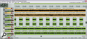 Here you can see some of the ways the guitar sounds were improved for the remix: the original parts (orange regions) were extensively edited for pitching and timing in the arrange page; some additional guitar layers were added from Nine Volt Audio's Big Bad Guitars library (green regions) to thicken and dry out the sound; and parallel distortion was added from Mokafix's freeware NoAmp plug‑in.