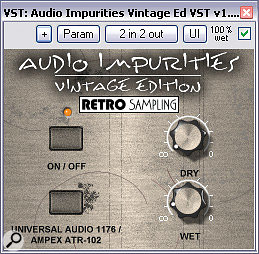 A combination of two background noise sources (the Vintage and VST Editions of Retrosampling's Audio Impurities) was used to give extra cohesion to the mix, so that less reverb was required.