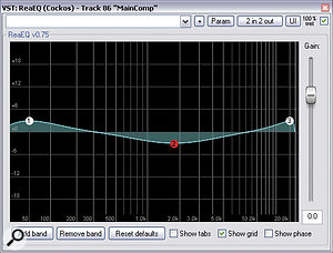 The corrective bus EQ setting Mike applied to his mix following his first real bout of mix referencing. Smile!