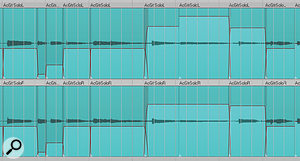 Editing the acoustic guitar parts into slices served not only to deal with timing problems, but also helped adjust some lumpy musical phrasing, using the individual region gain settings.