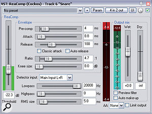 Here you can see the Cockos ReaComp setting Mike used to control the snare levels without significantly altering the nature of the drum's sound. Note, in particular, the Pre-comp parameter, which controls the plug-in's lookahead feature.