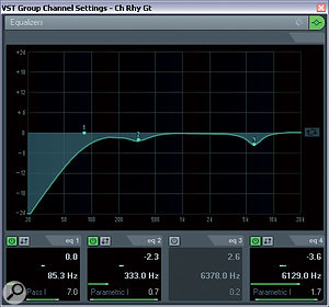 Here you can compare the EQ settings for the main chorus rhythm guitar part. The main alteration is the new cut around 4kHz, which was crucial in unmasking that important region of the vocals during this busy section of the arrangement.
