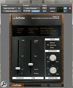Softube's TSAR–1R plug–in was used to provide a  'chamber' reverb for the vocals.