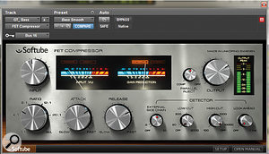 A compressor was used on the bass guitar, but with the input keyed to the kick drum. This helped add a  little glue to the low–frequency parts.