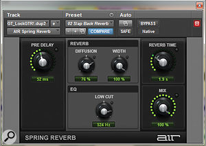 A spring reverb was used on the electric guitar, and the effect return panned to the other side of the mix.