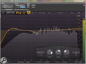 The final stage of the mix involved EQ'ing the mix bus, as well as fine-tuning individual channels.