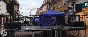 The SRM650s and 1850s in situ at a  town–centre gig.