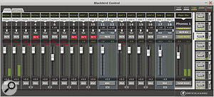 The Blackbird Control's software mixer.