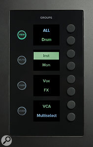 Located at opposite ends of the surface, the Groups panel allows you to navigate custom View Groups and recall their settings and fader positions.