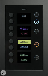 The Mixes pane calls up the settings for any output mix (main, auxes, subgroups, matrices and effects busses).