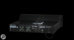 The DL32R can record and play back 32-channel multitrack audio directly to/from an attached USB hard disk. Playback is routed to each channel's B input by default, and playback and recording is controlled from an iPad.