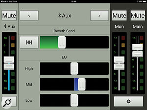 Each channel has access to its own effects send and three–band EQ.