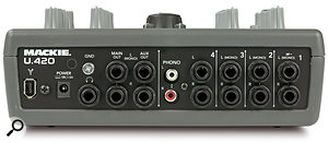 Horses for courses: both these small mixers include a Firewire interface, but which is right for you will depend on your needs. The U420 (top) gives you four stereo line inputs but no mic inputs, whereas the slightly larger U420d provides only two stereo input channels but also features two 'combi' jack/XLR mono inputs.