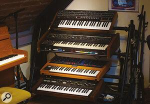 Matt Berry's Sequential Prophet‑6, Roland Jupiter‑4, Moog Voyager 08 and Yamaha SK15