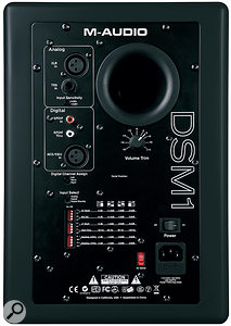 The rear of the DSM1s hosts several different input options, as well as alevel control and DIP switches to control placement‑correction EQ.