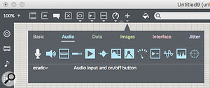 The top toolbar, with a  palette of audio objects.