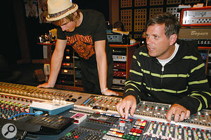 Producer Jason Perry (right) at the Neve 88R desk in Sydney's Studio 301 with singer/guitarist/pianist Tom Fletcher.
