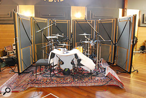 Both live rooms at Studio 301 were used, the smaller Studio 2 for a more intimate sound (below), and the larger Studio 1 for a more expansive feel (above — note the kick drum 'tunnel' created using chairs and packing foam).