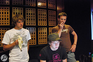 McFly's Dougie Poynter (left), Danny Jones and Harry Judd (right) ponder a difficult question during the recording of <em>Radio:ACTIVE</em>.