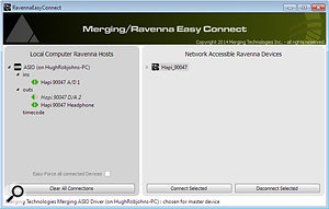 The Ravenna Easy Connect application.
