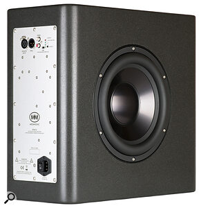 The RTM10's single LF driver is mounted in the side of the speaker's cabinet. Rear‑panel controls are limited to 0, 2 and 4 dB bass cut options, to compensate for placement near boundaries.